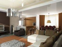 Disegno interno moderno (l'appartamento 3d del privat rende Fotografia Stock Libera da Diritti