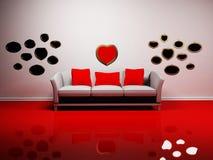 Disegno interno romantico con un sofà Immagini Stock Libere da Diritti