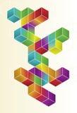 Disegno isometrico della pagina del cubo di gradiente Fotografia Stock Libera da Diritti