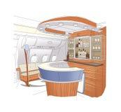 Disegno lineare dell'interno della barra degli aerei del Business class della barra Isolato su priorit? bassa bianca illustrazione di stock