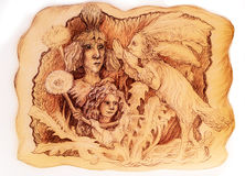 Disegno lineare dettagliato, gruppo di fatati con il fiore del dente di leone Fotografie Stock Libere da Diritti