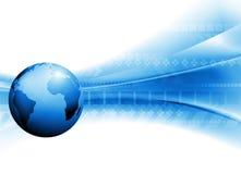Disegno luminoso di tecnologia di vettore con il globo Immagine Stock