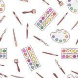 Disegno a mano libera del modello senza cuciture delle tavolozze, pitture royalty illustrazione gratis