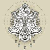 Disegno a mano libera delle rose nello stile orientale Fotografia Stock