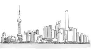 Disegno a mano libera di panorama del centro di Shanghai Immagine Stock