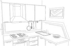 Disegno a mano libera interno della piccola cucina d'angolo Fotografie Stock Libere da Diritti