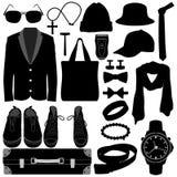 Disegno maschio di modo degli accessori di usura dei vestiti dell'uomo Immagini Stock
