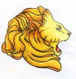 Disegno a matita capo- del leone Immagini Stock Libere da Diritti
