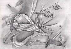 Disegno a matita con la conchiglia e le perle royalty illustrazione gratis