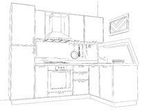Disegno a matita d'angolo moderno dell'interno della cucina Fotografie Stock