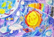 disegno a matita del bambino Nello spazio illustrazione di stock