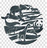 Disegno a matita dell'icona degli animali Fotografia Stock Libera da Diritti
