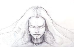 Disegno a matita di bella ragazza di meditazione e tatuaggio sul fronte ed orecchino della stella illustrazione vettoriale