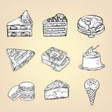 Disegno a matita di scarabocchio del budino della cialda della torta di formaggio del dolce Immagine Stock