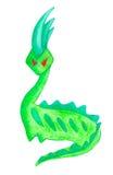 Disegno a matita verde sveglio del dinosauro del mostro Fotografie Stock
