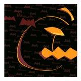 Disegno a metà giallo della zucca della penna del colpo, fondo del nero scuro Fotografia Stock Libera da Diritti