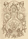 Disegno mistico con i simboli spirituali ed alchemical, Gemelli del segno dello zodiaco con la luna e sole sul fondo di struttura illustrazione di stock
