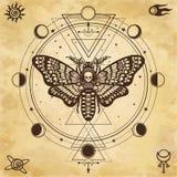Disegno mistico: Testa morta del lepidottero, cerchio di una fase della luna La geometria sacra illustrazione di stock
