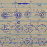 Disegno multiplo della mano dell'icona della bicicletta dalla penna blu di colore Fotografie Stock