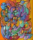 Disegno nello stile dello scarabocchiare sul fondo arancio variopinto illustrazione vettoriale