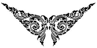 Disegno nero del tatuaggio del reticolo della farfalla Fotografia Stock