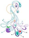Disegno ornamentale del pavone Fotografia Stock