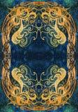 Disegno ornamentale Tiraggio della mano e collage originali del computer Struttura di colore immagine stock libera da diritti