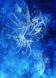 Disegno ornamentale Tiraggio della mano e collage originali del computer Struttura di colore Struttura blu di colore fotografie stock libere da diritti