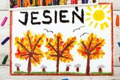 Disegno: Parola polacca AUTUNNO ed alberi con le foglie rosse e dell'arancia di giallo, Fotografia Stock