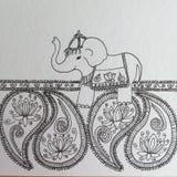 Disegno a penna ed inchiostro di scarabocchio di zen dell'elefante indiano Fotografia Stock Libera da Diritti