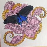 Disegno a penna ed inchiostro di scarabocchio di zen della farfalla di coda di rondine Immagine Stock Libera da Diritti