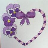 Disegno a penna ed inchiostro di viole del pensiero porpora e del cuore Fotografie Stock Libere da Diritti