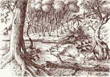 Disegno profondo della mano della foresta illustrazione di stock