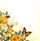 Disegno romantico di lerciume con le rose, il pizzo e le pere beige in retro Immagini Stock