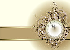 Disegno romantico di natale con l'orologio antico Immagini Stock Libere da Diritti
