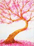 Disegno rosa della mano della pittura dell'acquerello di giorno di biglietti di S. Valentino di amore dell'albero Immagini Stock
