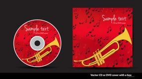 Disegno rosso del coperchio di DVD con la tromba Fotografia Stock Libera da Diritti