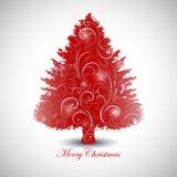 Disegno rosso dell'albero di Natale Immagini Stock Libere da Diritti