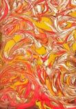 Disegno rosso della vernice del marmo dell'oro Fotografia Stock