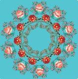 Disegno rotondo delle rose rosse sull'azzurro Fotografie Stock