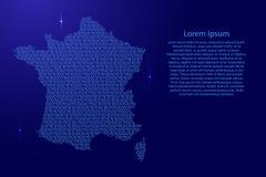 Disegno schematico dell'estratto della mappa della Francia dal blu un e Di del file binario di zeri illustrazione vettoriale