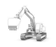 Disegno: schizzo in bianco e nero dell'escavatore royalty illustrazione gratis