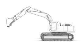 Disegno: schizzo in bianco e nero dell'escavatore illustrazione vettoriale