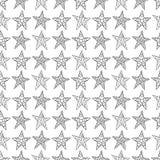 Disegno senza cuciture della mano del fondo con le stelle a rete nere in Fotografie Stock