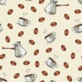 Disegno senza cuciture della mano del modello del caffè illustrazione di stock
