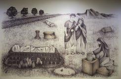 Disegno storico di ricostruzione del processo romano di cremazione Fotografia Stock