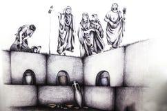 Disegno storico di ricostruzione del rito romano di funeratu al colu Immagini Stock Libere da Diritti