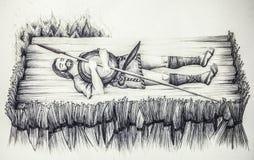 Disegno storico di ricostruzione del rogo iberico del guerriero Fotografie Stock Libere da Diritti