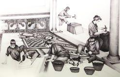 Disegno storico di ricostruzione della costruzione del mosaico Fotografie Stock Libere da Diritti