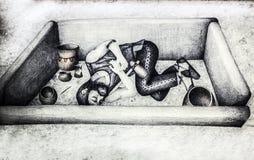 Disegno storico di ricostruzione della sepoltura iberica del guerriero Immagini Stock Libere da Diritti